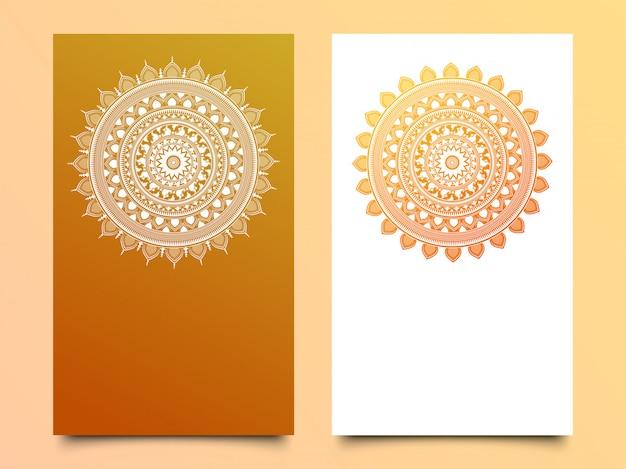 Design de mandala brilhante em duas opções de cores diferentes.