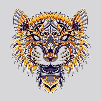 Design de mandala e ilustração de tigre mandala zentangle vetor premium