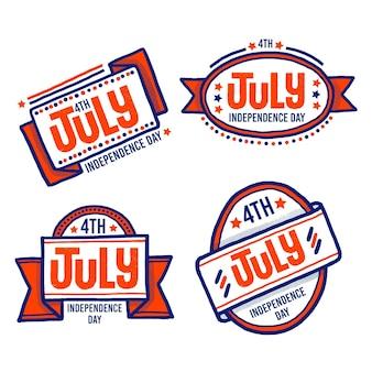 Design de mão desenhada 4 de julho emblemas