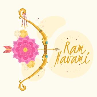 Design de mão desenhada com arco de ram navami