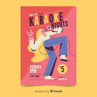 Design de mão desenhada de cartaz de festa de karaoke