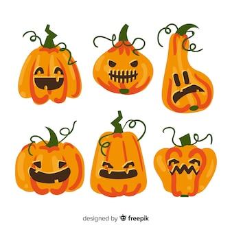 Design de mão desenhada de coleção de abóbora de halloween