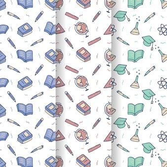 Design de mão desenhada de volta aos padrões da escola