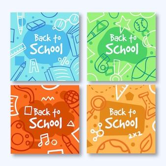 Design de mão desenhada de volta às postagens do instagram da escola