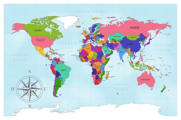 Design de mapa artístico do mundo político