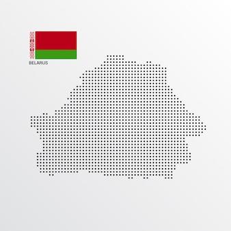 Design de mapa da bielorrússia com bandeira e vetor de luz de fundo