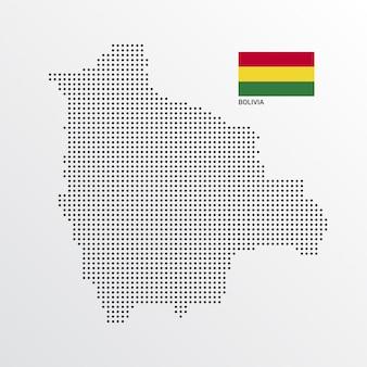 Design de mapa da bolívia com bandeira e vetor de luz de fundo