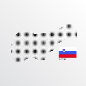 Design de mapa da eslovénia com bandeira e vetor de luz de fundo