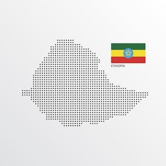 Design de mapa da etiópia com bandeira e vetor de luz de fundo