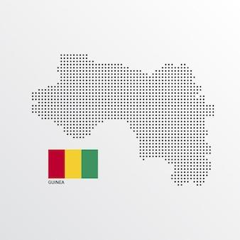Design de mapa da guiné com bandeira e luz de fundo vector