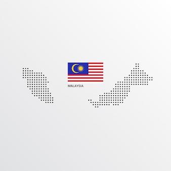 Design de mapa da malásia com bandeira e luz de fundo vector