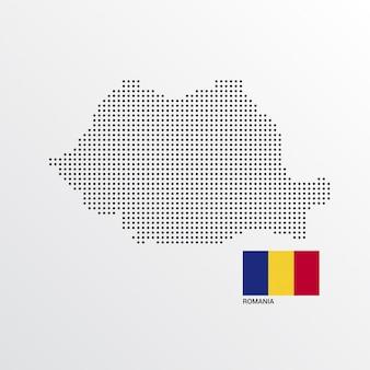 Design de mapa da roménia com bandeira e vetor de luz de fundo
