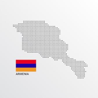Design de mapa de arménia com bandeira e vetor de luz de fundo