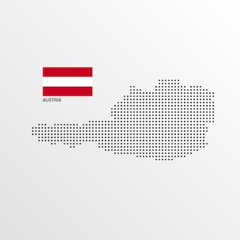 Design de mapa de áustria com bandeira e luz de fundo vector