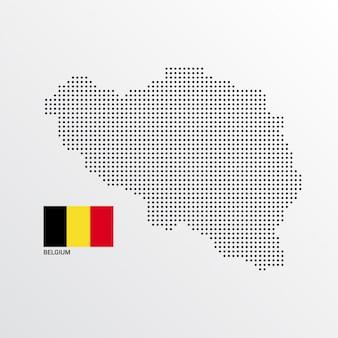Design de mapa de bélgica com bandeira e vetor de luz de fundo