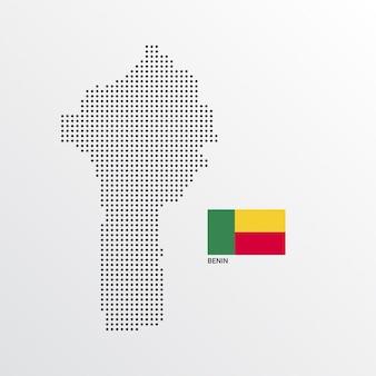 Design de mapa de benin com bandeira e vetor de luz de fundo