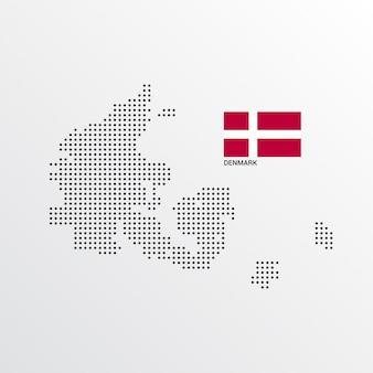 Design de mapa de dinamarca com bandeira e vetor de luz de fundo