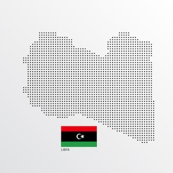 Design de mapa de líbia com bandeira e vetor de luz de fundo