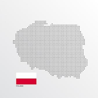 Design de mapa de polónia com bandeira e luz de fundo vector