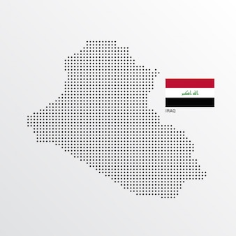Design de mapa do iraque com bandeira e vetor de luz de fundo