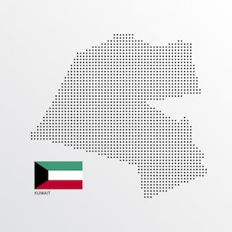 Design de mapa do kuwait com bandeira e vetor de luz de fundo