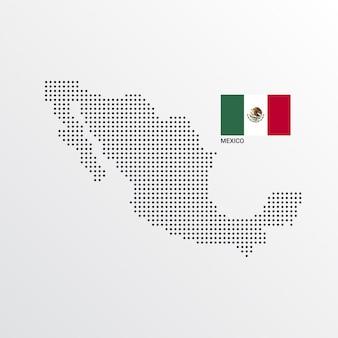 Design de mapa do méxico com bandeira e vetor de luz de fundo