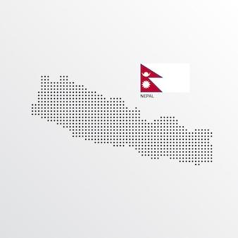 Design de mapa do nepal com bandeira e luz de fundo vector