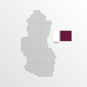 Design de mapa do qatar com bandeira e vetor de luz de fundo