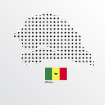 Design de mapa do senegal com bandeira e vetor de luz de fundo