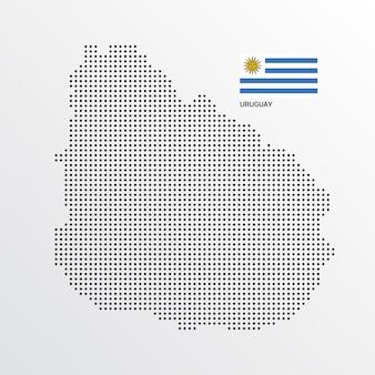 Design de mapa do uruguai com bandeira e vetor de luz de fundo