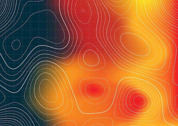 Design de mapa topografia abstrata com sobreposição de mapa de calor