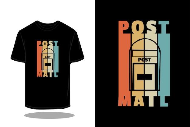 Design de maquete de camiseta retrô silhueta post mail