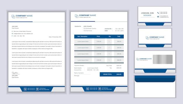Design de marca corporativa de negócios de papelaria clássico com modelo de papel timbrado, fatura e cartão de visita.