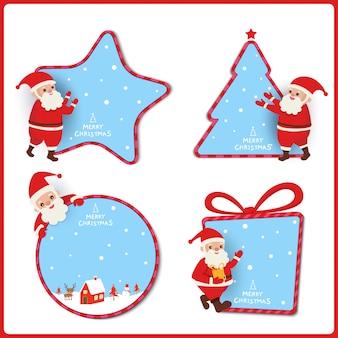 Design de marca de natal com papai noel decorado com moldura de ornamentos.