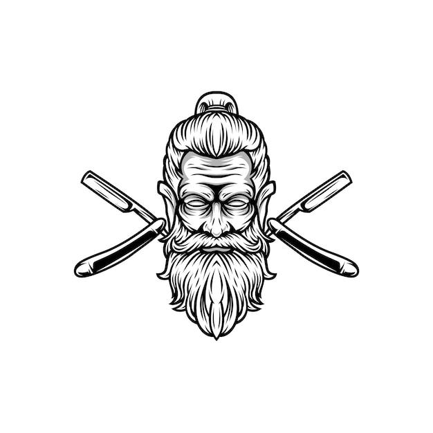 Design de mascote de barbeiro