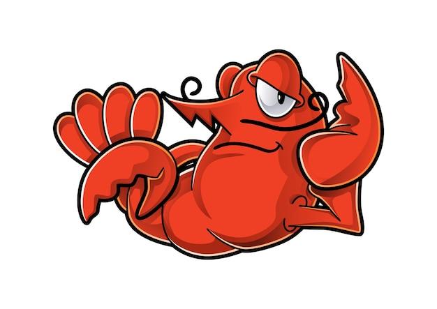 Design de mascote de lagosta preguiçoso