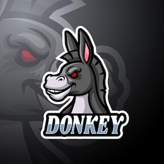 Design de mascote de logotipo burro esport