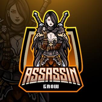 Design de mascote de logotipo de assassino esport