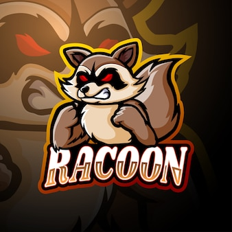 Design de mascote de logotipo de guaxinim esport