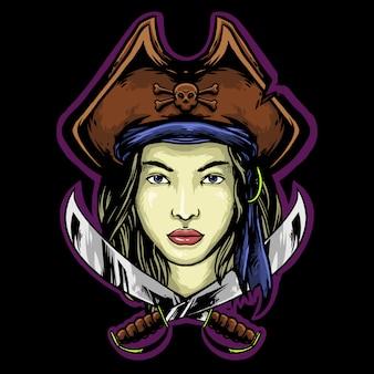 Design de mascote de logotipo de piratas de mulher