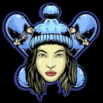 Design de mascote de logotipo de placa de skate de mulher