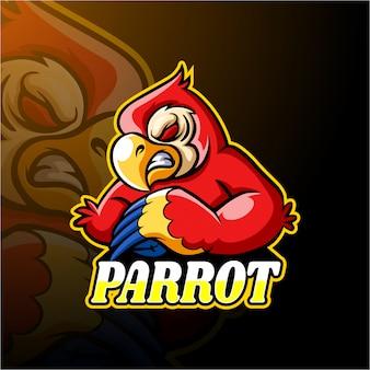 Design de mascote de logotipo papagaio esport