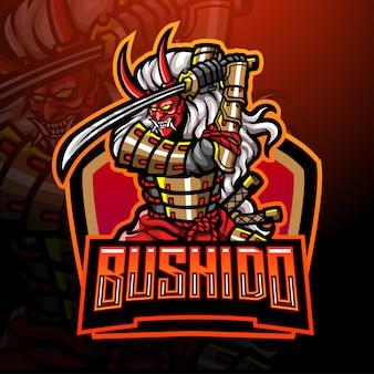 Design de mascote de logotipo samurai esport mal