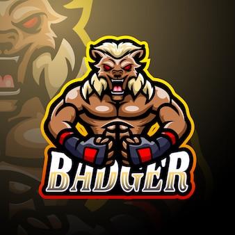 Design de mascote de logotipo texugo esport