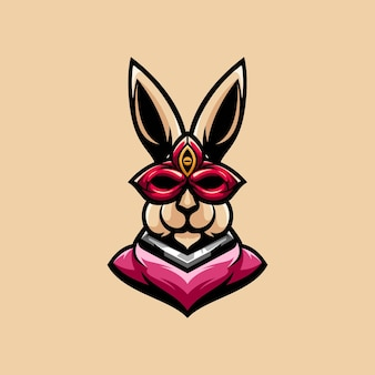 Design de mascote de máscara de coelho