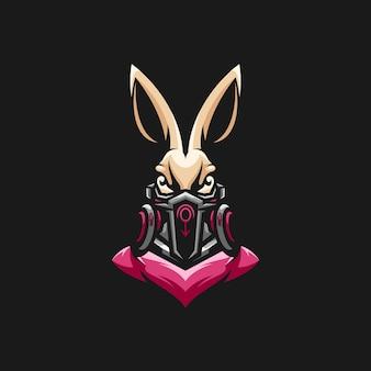 Design de mascote de máscara de gás para coelho