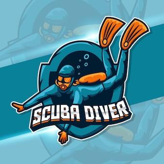 Design de mascote de mergulhador