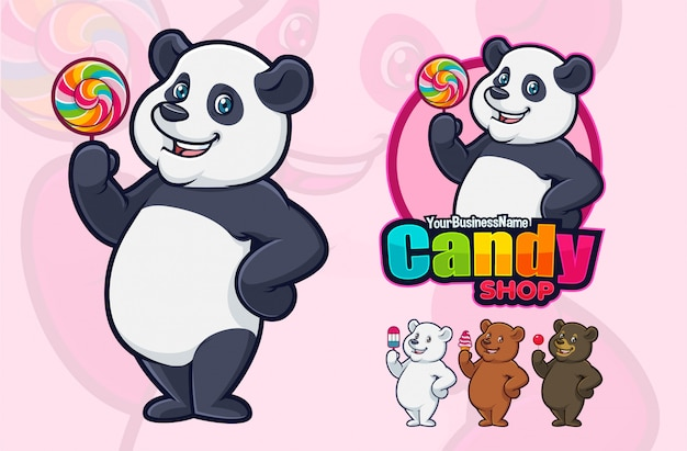 Design de mascote de panda para negócios ou logotipo.