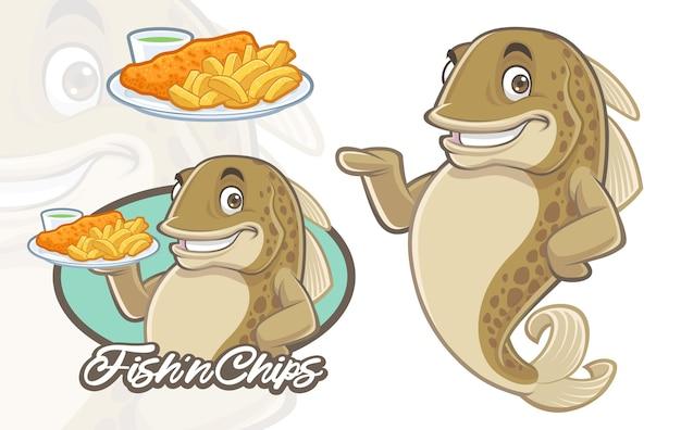 Design de mascote de peixe e batatas fritas