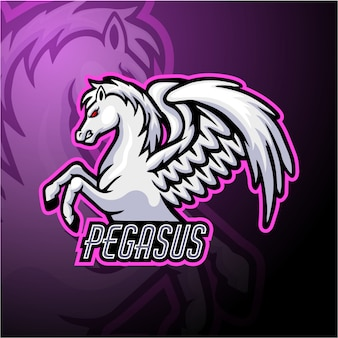 Design de mascote do logotipo pegasus esport